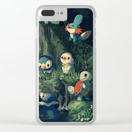 Water Starters Chilling In The Forest - Pocket Monsters Clear iPhone Case