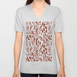 Orange brown abstract modern brushstrokes pattern Unisex V-Neck
