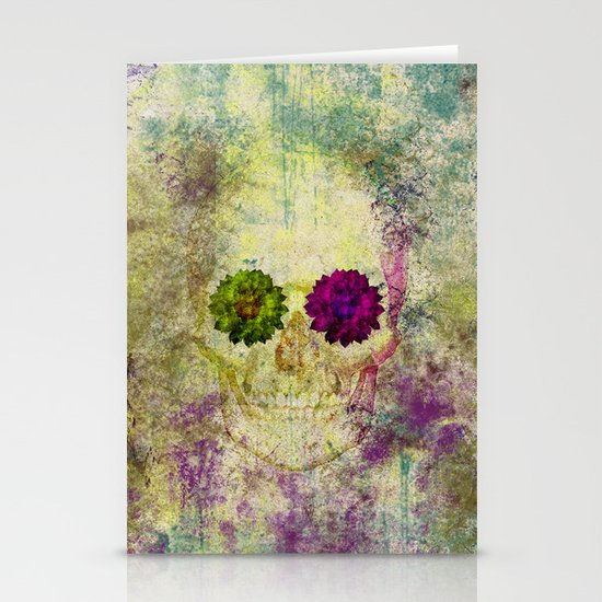 Hipster Skull Urban Grunge Watercolors Stationery Cards