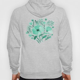 Flower bouquet with poppies - aqua Hoody