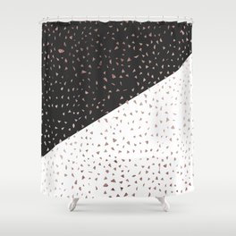 Speckled Rose Gold Flakes on Black White Geometric Shower Curtain