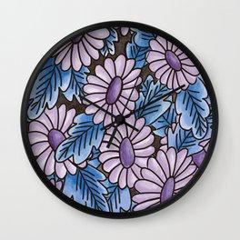 Purple flowers blue leaves pattern Wall Clock