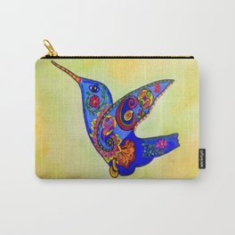 humming bird in color with green-yellow back ground Carry-All Pouch
