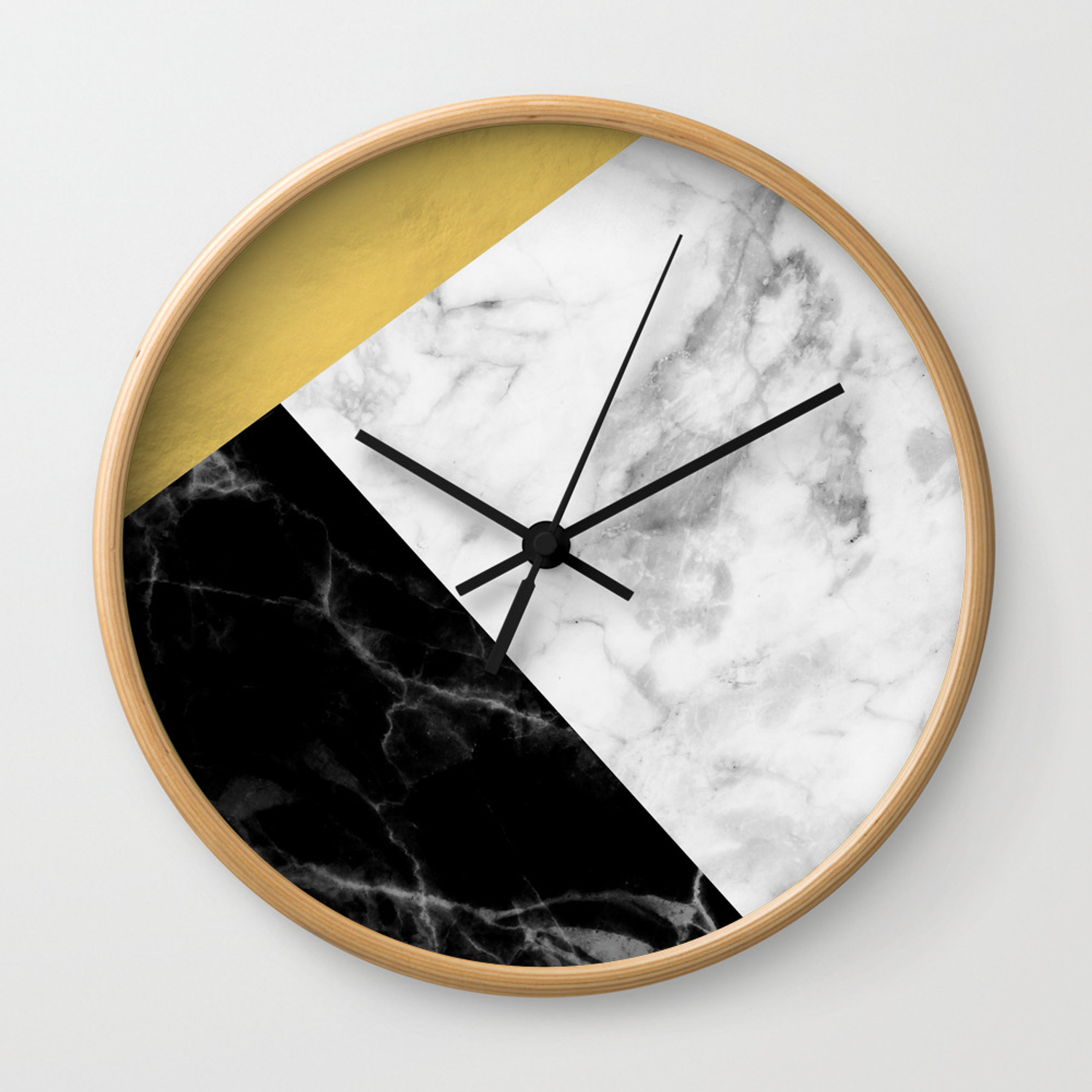 Marble Gold Collage Wall Clock By Newwave Society6