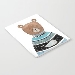 Bear in knitted sweater Notebook