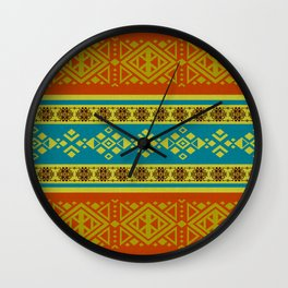 Mexican /Tribal Style pattern -Orange and Blue Wall Clock