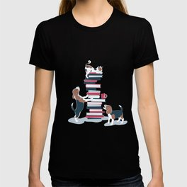 Life is better with books a hot drink and a friend // blue background brown white and blue beagles and cats and red cozy details T-shirt