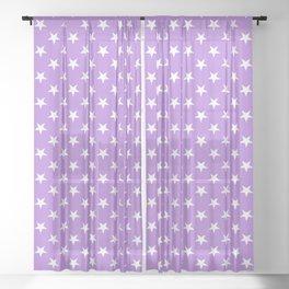 White on Lavender Violet Stars Sheer Curtain