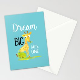 Dream Big Little One Watercolor Giraffe Nursery Quote Stationery Cards