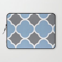 Grey and Airy Blue Quatrefoil Laptop Sleeve