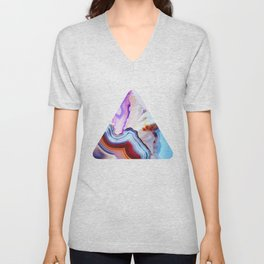 Agate, a vivid Metamorphic rock on Fire Unisex V-Neck