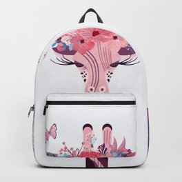 Giraffe with a crown of purple flowers Backpack