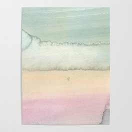 Hand painted pink ivory green watercolor paint Poster
