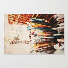 Vintage Watercolor Surf Shack Canvas Print