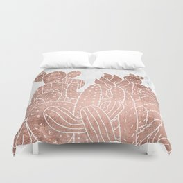 Modern faux rose gold cactus hand drawn pattern illustration white marble Duvet Cover
