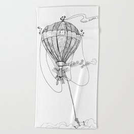 Time Flies with Steam and Wings Beach Towel