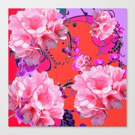 Delicate White & Pink Flower Blossoms Coral Art Canvas Print
