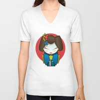 geisha V-neck T-shirts featuring Geisha by Sara Penco