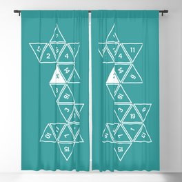 Teal Unrolled D20 Blackout Curtain