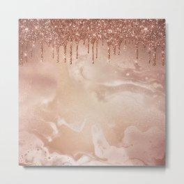Copper Glitter Rain Metal Print
