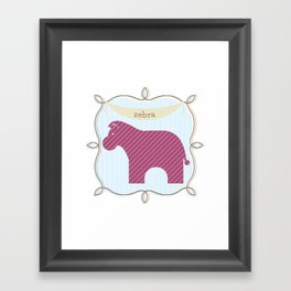 Fun at the Zoo: Zebra Framed Art Print