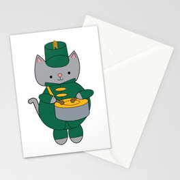 Cat Marching Band Drum Green Yellow Stationery Cards