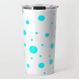 Mixed Polka Dots - Aqua Cyan on White Travel Mug