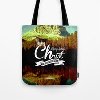 bible verses Tote Bags featuring Typographic Motivational Bible Verses - Philippians 4:13 by The Wooden Tree