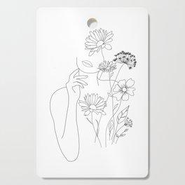 Minimal Line Art Woman with Flowers III Cutting Board