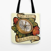 compass Tote Bags featuring Compass by hvelge