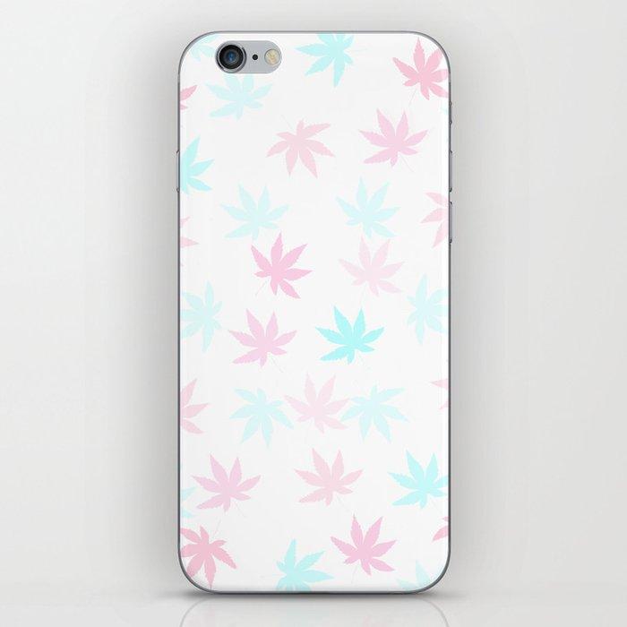 Teal and Pink Kush Leaf iPhone Skin
