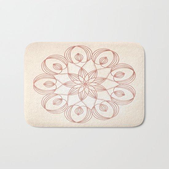 Mandala Floweret Rose Gold on Cream Bath Mat