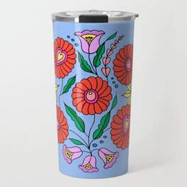 Hungarian embroidery inspired pattern blue Travel Mug