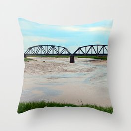 Low Tide at the Sackville Train Bridge Throw Pillow