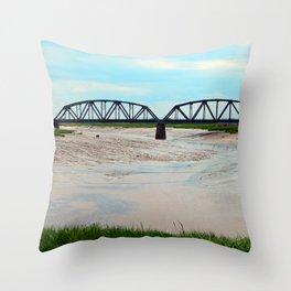 Low Tide at the Sackville Train Bridge Throw Pillow