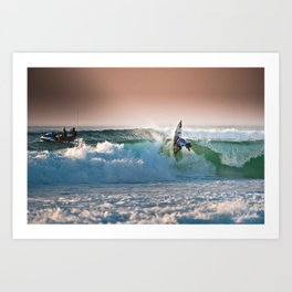 Aritz Aranburu, Surfing during world tour of surf Art Print