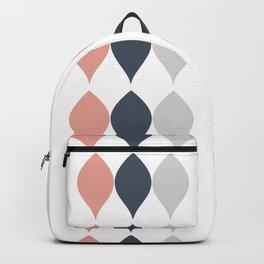 Geometric Petal & Leaf Striped Pattern Pink Gray White Backpack