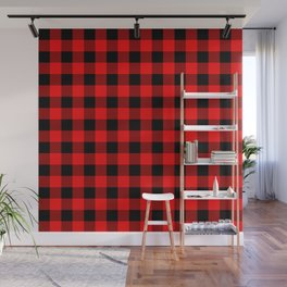 Jumbo Valentine Red Heart Rich Red and Black Buffalo Check Plaid Wall Mural