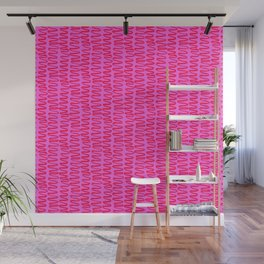 Pink and Red Squiggle Pattern Wall Mural
