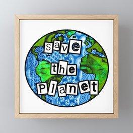 Save the planet Globe Framed Mini Art Print