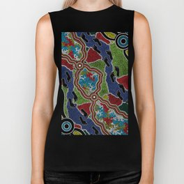 Aboriginal Art Authentic - Walking the Land Biker Tank