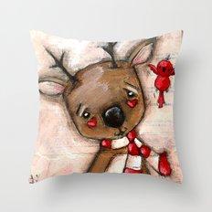 Red Bird and Reindeer - Christmas Holiday Art Throw Pillow