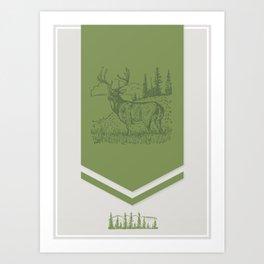 Lodge series - Deer (green on cream) Art Print