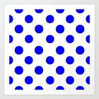 polka dots Art Prints featuring Polka Dots (Blue/White) by 10813 Apparel