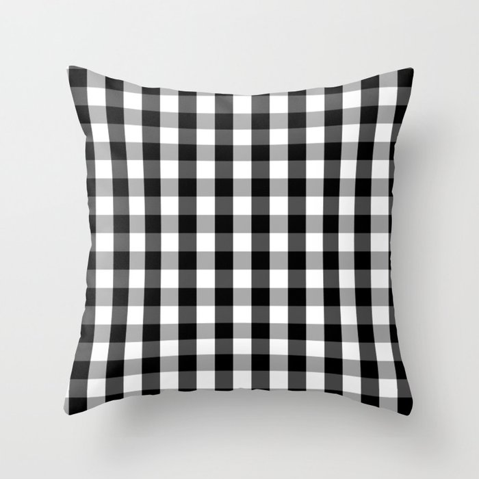 Large Black White Gingham Checked Square Pattern Throw Pillow