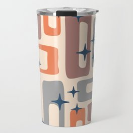 Retro Mid Century Modern Abstract Pattern 926 Orange Brown Gray Travel Mug