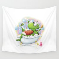 bath Wall Tapestries featuring Bubble Bath by Tooshtoosh