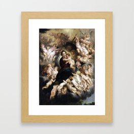Peter Paul Rubens Maria with Child in Angel Wreath Framed Art Print