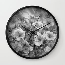 Morning Glories In Black And White Wall Clock