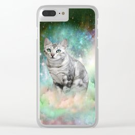 Purrsia Kitty Cat in the Emerald Nebula of Innocence Clear iPhone Case